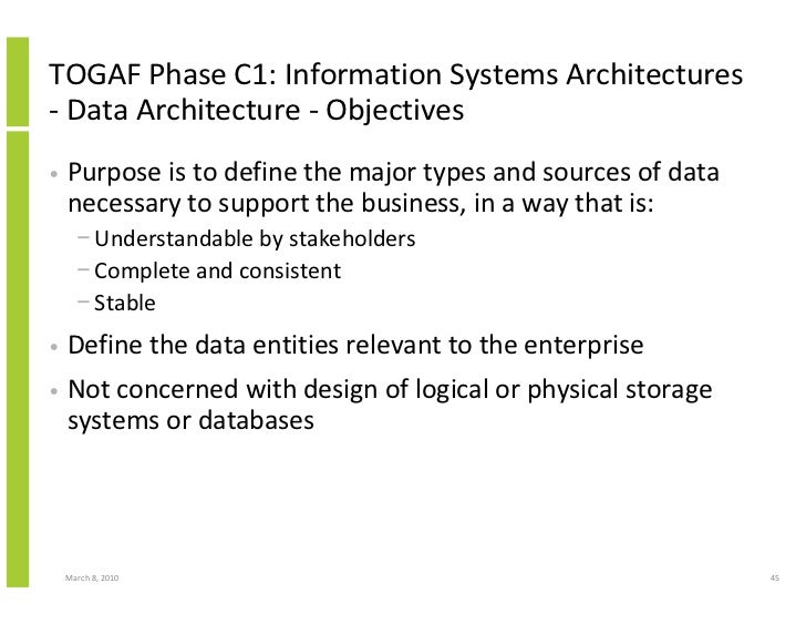 TOGAF Phase C1: Information Systems Architectures - Data Architecture - Objectives •   Purpose is to define the major type...