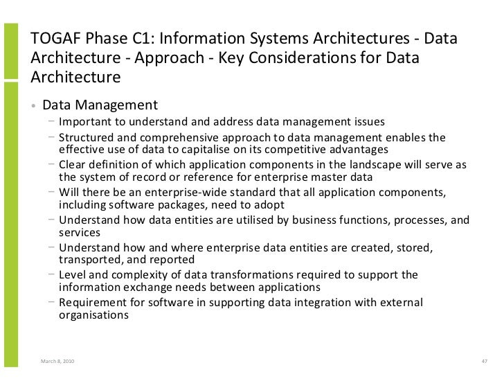 TOGAF Phase C1: Information Systems Architectures - Data Architecture - Approach - Key Considerations for Data Architectur...