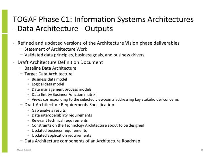 TOGAF Phase C1: Information Systems Architectures - Data Architecture - Outputs •   Refined and updated versions of the Ar...