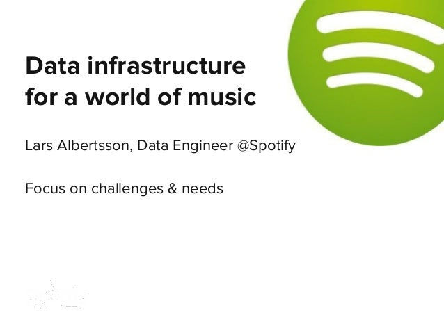 Lars Albertsson, Data Engineer @Spotify Focus on challenges & needs Data infrastructure for a world of music