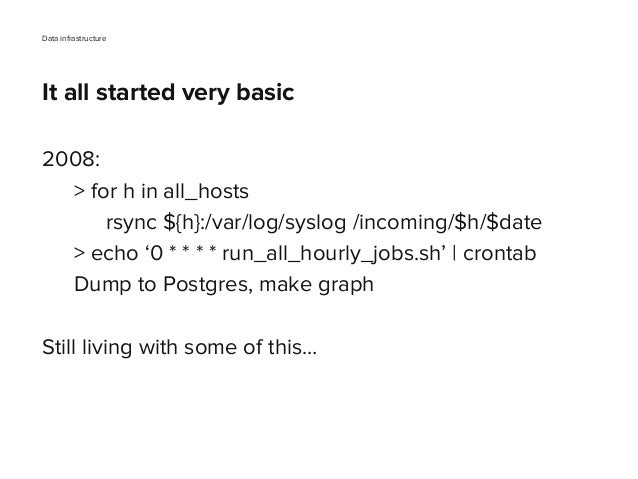 2008: > for h in all_hosts rsync ${h}:/var/log/syslog /incoming/$h/$date > echo '0 * * * * run_all_hourly_jobs.sh' | cront...
