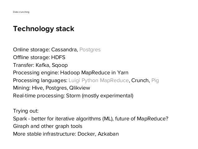 Online storage: Cassandra, Postgres Offline storage: HDFS Transfer: Kafka, Sqoop Processing engine: Hadoop MapReduce in Ya...
