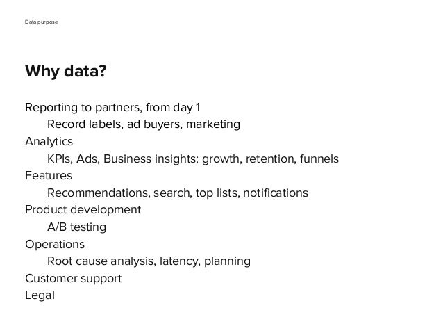 Why data? Reporting to partners, from day 1 Record labels, ad buyers, marketing Analytics KPIs, Ads, Business insights: gr...