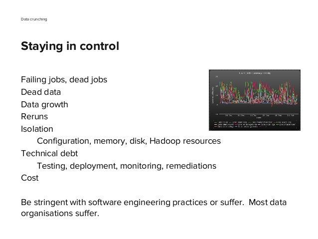 Failing jobs, dead jobs Dead data Data growth Reruns Isolation Configuration, memory, disk, Hadoop resources Technical deb...