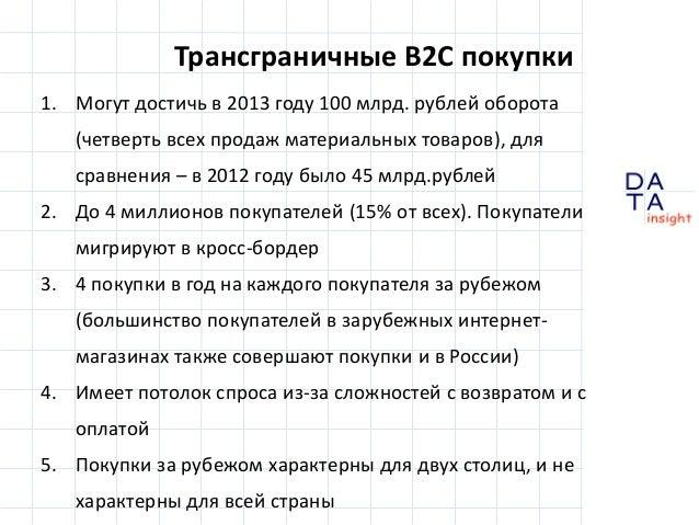 Трансграничные B2C покупки 1. Могут достичь в 2013 году 100 млрд. рублей оборота (четверть всех продаж материальных товаро...