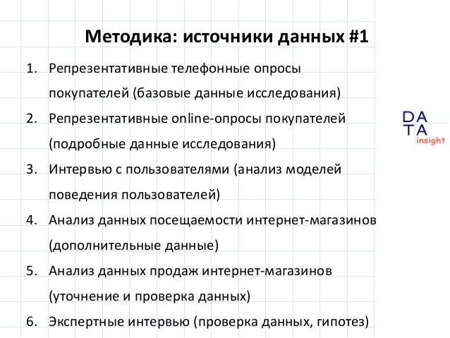 Методика: источники данных #1 1. Репрезентативные телефонные опросы покупателей (базовые данные исследования) 2. Репрезент...