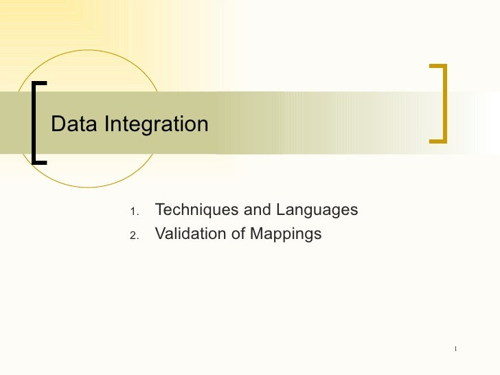 Data Integration <ul><li>Techniques and Languages </li></ul><ul><li>Validation of Mappings </li></ul>
