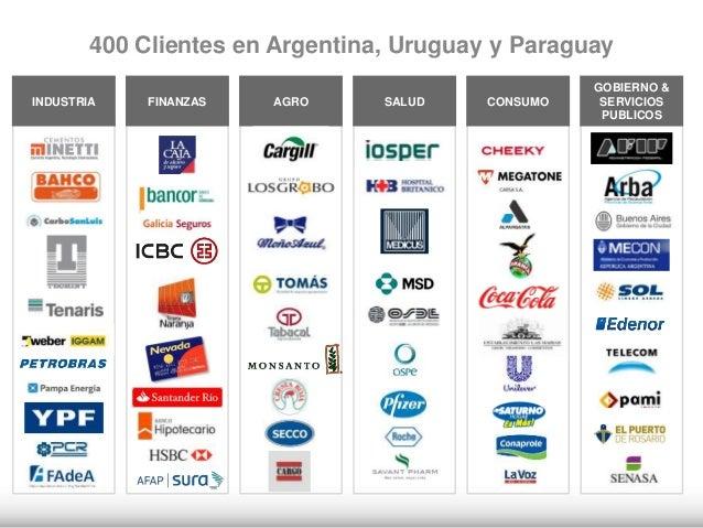 AGROINDUSTRIA FINANZAS SALUD CONSUMO GOBIERNO & SERVICIOS PUBLICOS 400 Clientes en Argentina, Uruguay y Paraguay