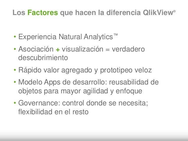 Los Factores que hacen la diferencia QlikView® • Experiencia Natural Analytics™ • Asociación + visualización = verdadero d...