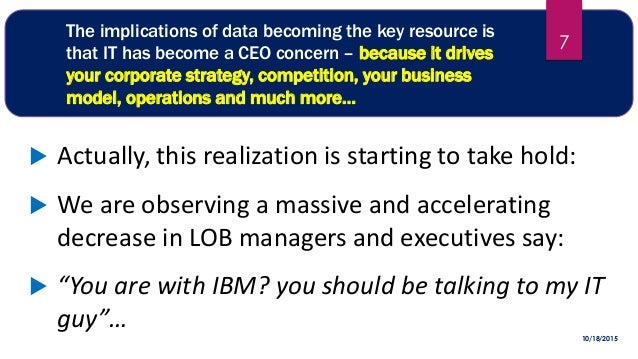 The implications of data becoming the key resource is that IT has become a CEO concern – because it drives your corporate ...