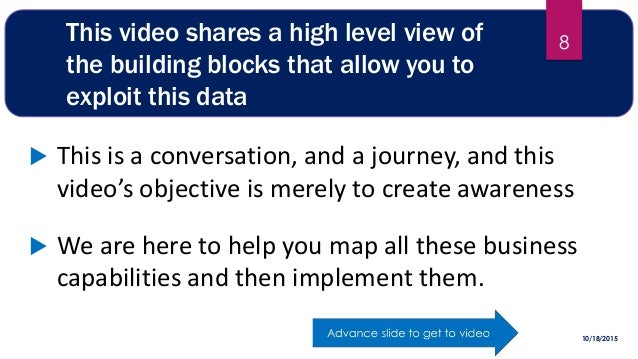 This video shares a high level view of the building blocks that allow you to exploit this data  This is a conversation, a...