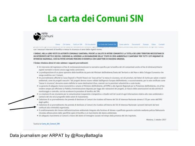 Data journalism per ARPAT by @RosyBattaglia La carta dei Comuni SIN