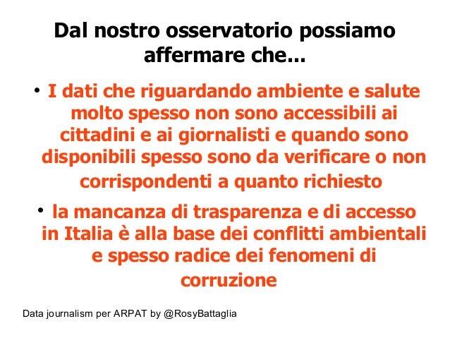 Data journalism per ARPAT by @RosyBattaglia Dal nostro osservatorio possiamo affermare che...  I dati che riguardando amb...
