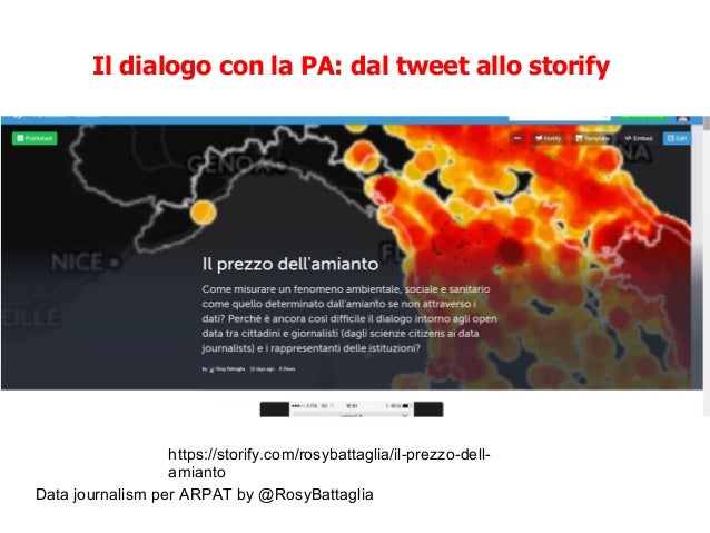 Data journalism per ARPAT by @RosyBattaglia Il dialogo con la PA: dal tweet allo storify https://storify.com/rosybattaglia...
