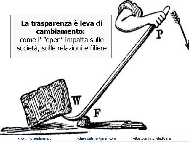 """La trasparenza è leva di cambiamento: come l' """"open"""" impatta sulle società, sulle relazioni e filiere  www.micheledalena.i..."""