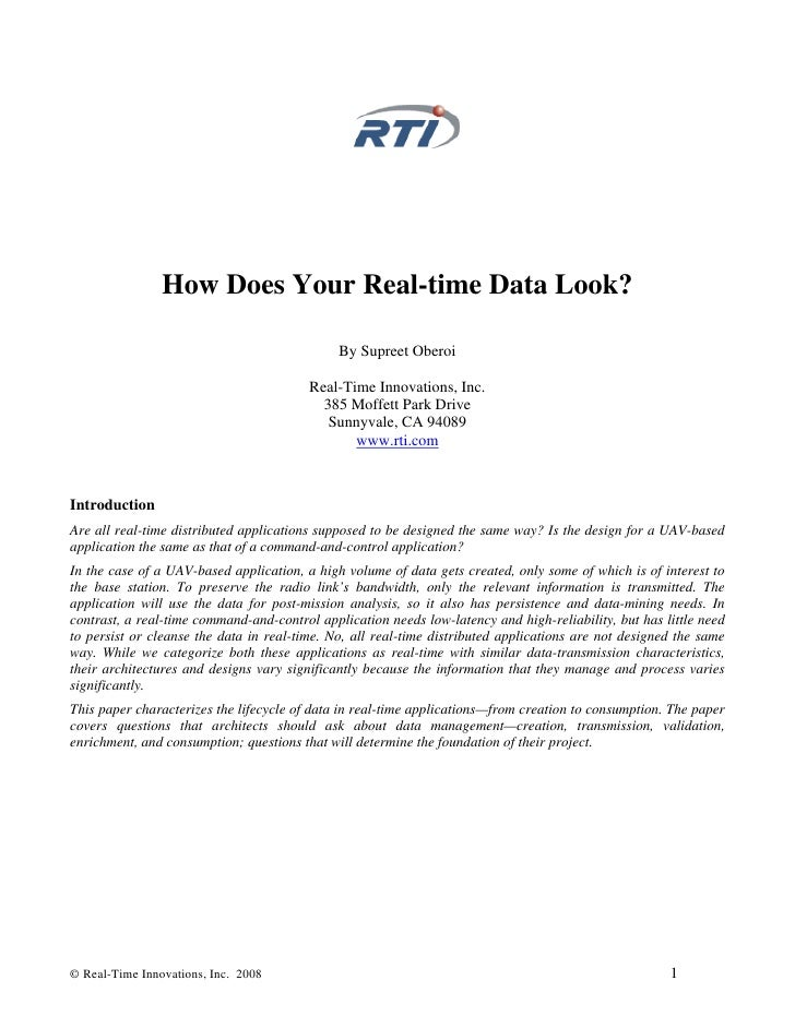 How Does Your Real-time Data Look?                                                By Supreet Oberoi                       ...
