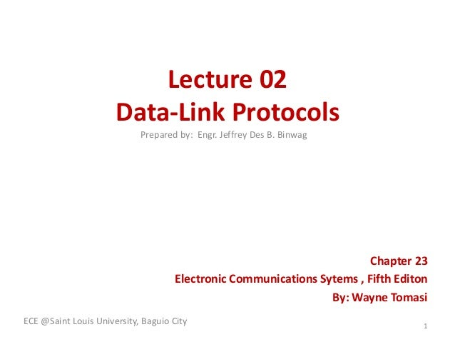 Lecture 02 Data-Link Protocols Prepared by: Engr. Jeffrey Des B. Binwag  Chapter 23 Electronic Communications Sytems , Fif...