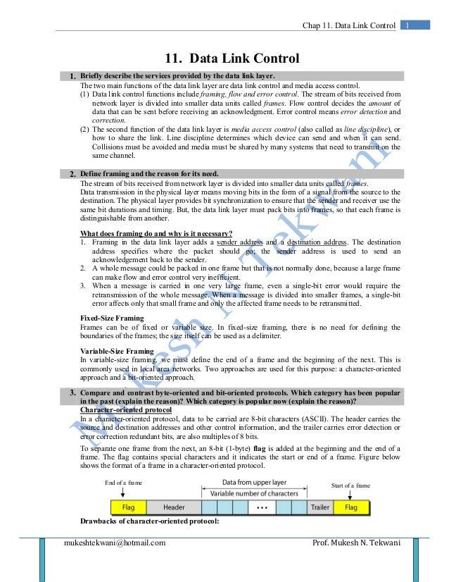 mukeshtekwani@hotmail.com Prof. Mukesh N. Tekwani 1Chap 11. Data Link Control 11. Data Link Control 1. Briefly describe th...