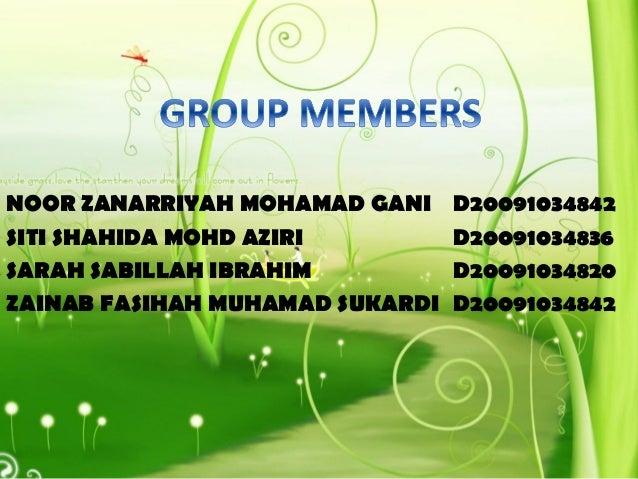 NOOR ZANARRIYAH MOHAMAD GANI D20091034842 SITI SHAHIDA MOHD AZIRI D20091034836 SARAH SABILLAH IBRAHIM D20091034820 ZAINAB ...
