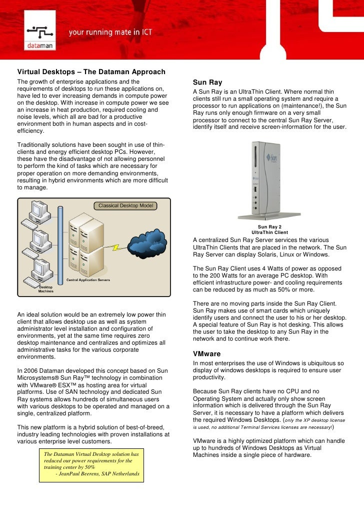 Virtual Desktops – The Dataman Approach The growth of enterprise applications and the                Sun Ray requirements ...