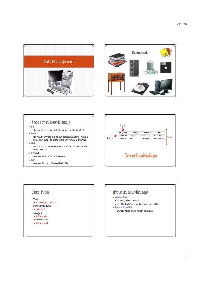05/11/53 1 Data Management Concept โครงสร ้างของแฟ้มข ้อมูล  Bit  ประกอบด ้วย binary digit มีอยู่สองสถานะคือ 0 หรือ 1  ...