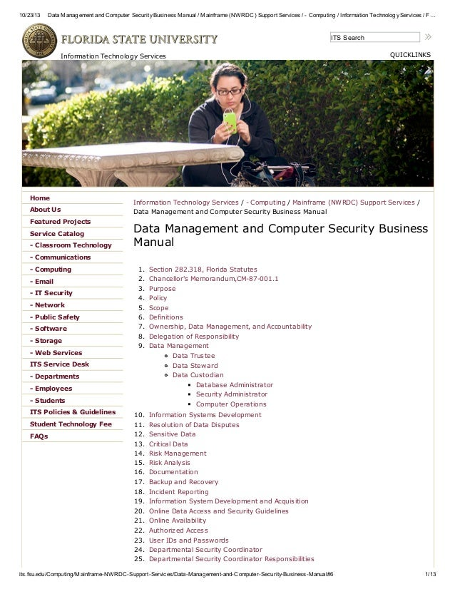 10/23/13 Data Management and Computer SecurityBusiness Manual / Mainframe (NWRDC) Support Services / - Computing / Informa...