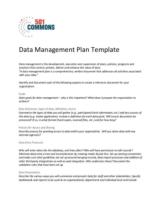 Data management plan template data management plan template data management is the development execution and supervision of plans maxwellsz
