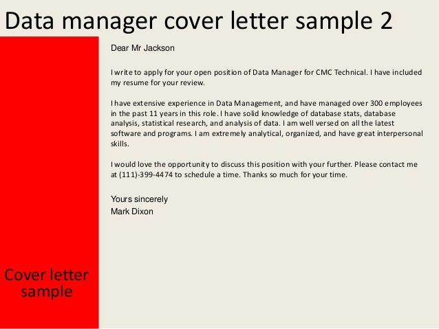 data manager cover letter - Spa Manager Cover Letter