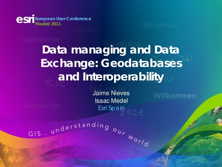 esri   European User Conference       Madrid 2011         Data managing and Data         Exchange: Geodatabases           ...