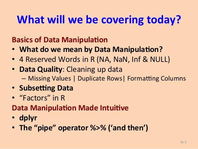 Data Manipulation Using R (& dplyr) Slide 3