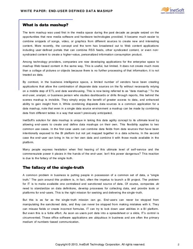Copyright © 2013, InetSoft Technology Corporation. All rights reserved. 2 WHITE PAPER: END-USER DEFINED DATA MASHUP What i...