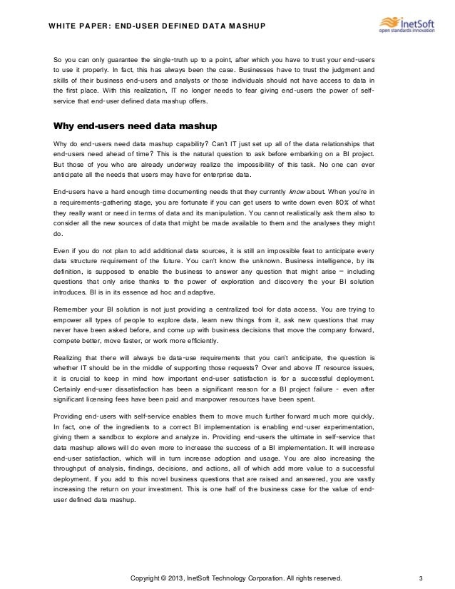 Copyright © 2013, InetSoft Technology Corporation. All rights reserved. 3 WHITE PAPER: END-USER DEFINED DATA MASHUP So you...