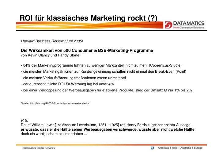 ROI für klassisches Marketing rockt (?)Harvard Business Review (Juni 2005)Die Wirksamkeit von 500 Consumer & B2B-Marketing...