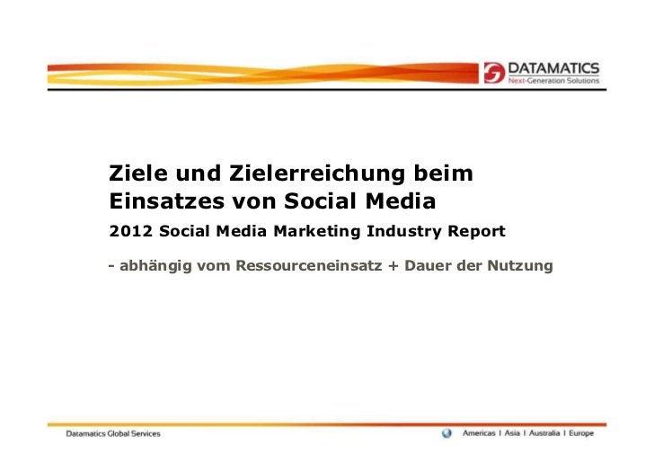 Ziele und Zielerreichung beimEinsatzes von Social Media2012 Social Media Marketing Industry Report- abhängig vom Ressource...