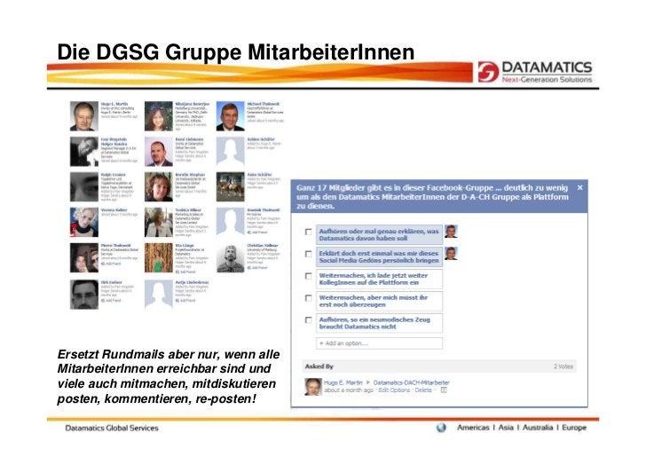 Die DGSG Gruppe MitarbeiterInnenErsetzt Rundmails aber nur, wenn alleMitarbeiterInnen erreichbar sind undviele auch mitmac...