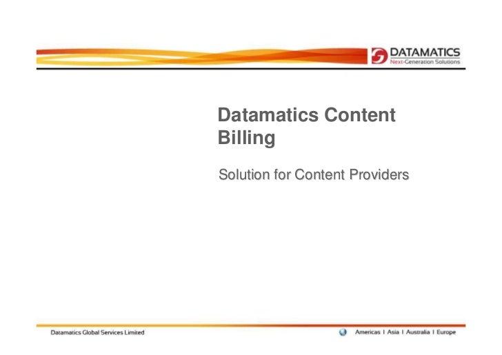 Datamatics ContentBillingSolution for Content Providers