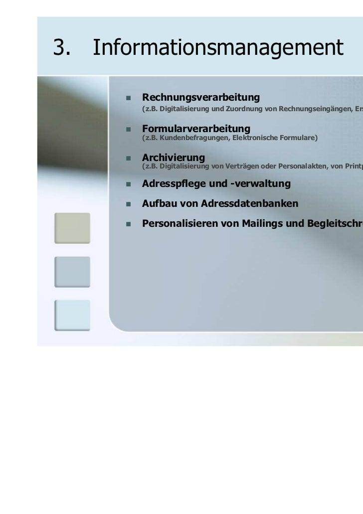 3. Informationsmanagement       Rechnungsverarbeitung       (z.B. Digitalisierung und Zuordnung von Rechnungseingängen, Er...