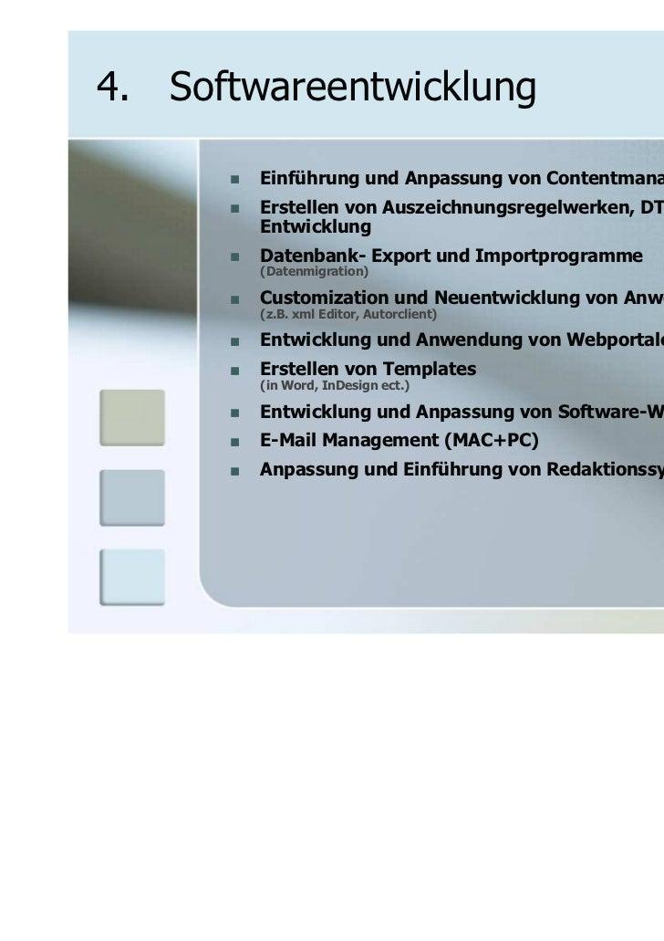 4. Softwareentwicklung        Einführung und Anpassung von Contentmanagement Systemen        Erstellen von Auszeichnungsre...