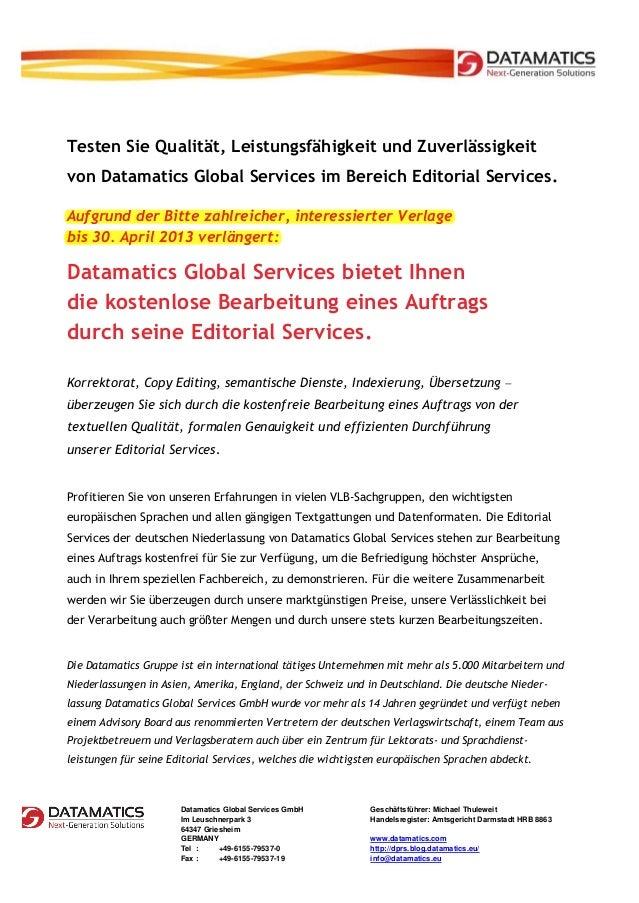 Testen Sie Qualität, Leistungsfähigkeit und Zuverlässigkeitvon Datamatics Global Services im Bereich Editorial Services.Au...