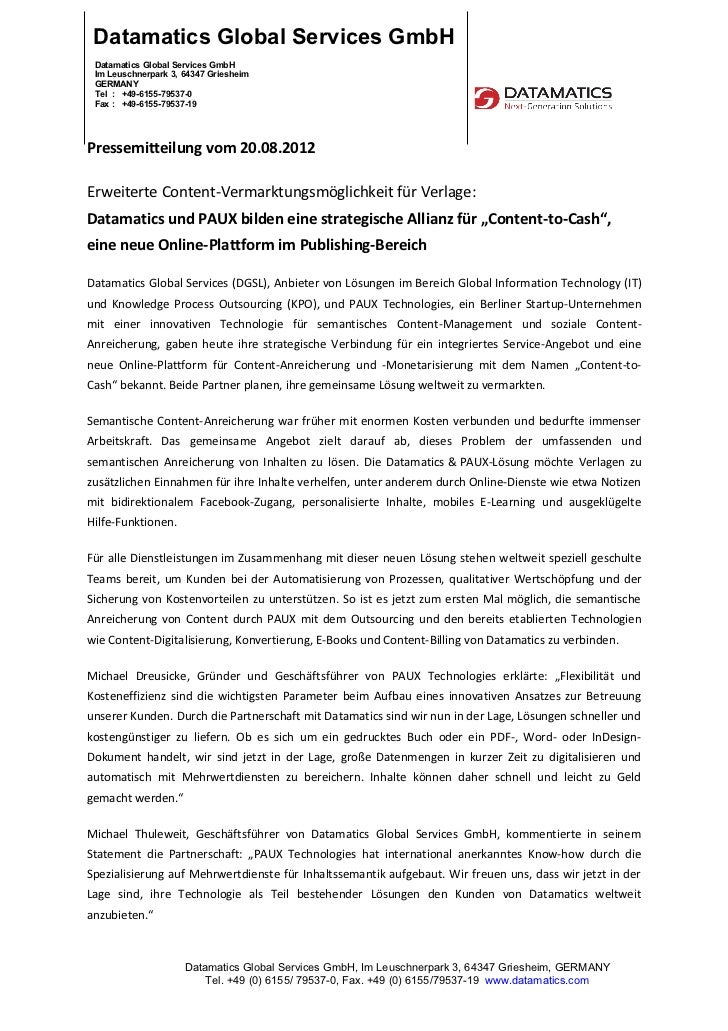 Datamatics Global Services GmbH Datamatics Global Services GmbH Im Leuschnerpark 3, 64347 Griesheim GERMANY Tel : +49-6155...