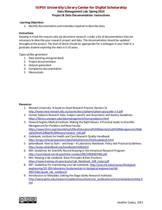 IUPUI University Library Center for Digital Scholarship Data Management Lab: Spring 2014 Project & Data Documentation: Ins...