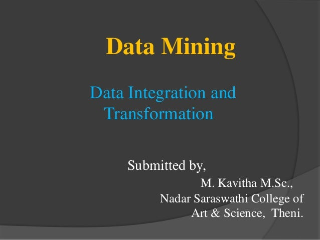Data Integration and Transformation in Data mining
