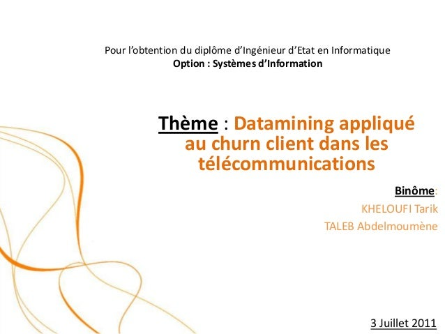 Pour l'obtention du diplôme d'Ingénieur d'Etat en Informatique               Option : Systèmes d'Information           Thè...