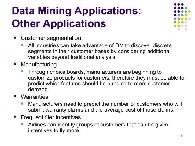 data mining applications questionnaire Data mining tools can answer business questions that traditionally were too time   what is new is the application of those techniques to general business.