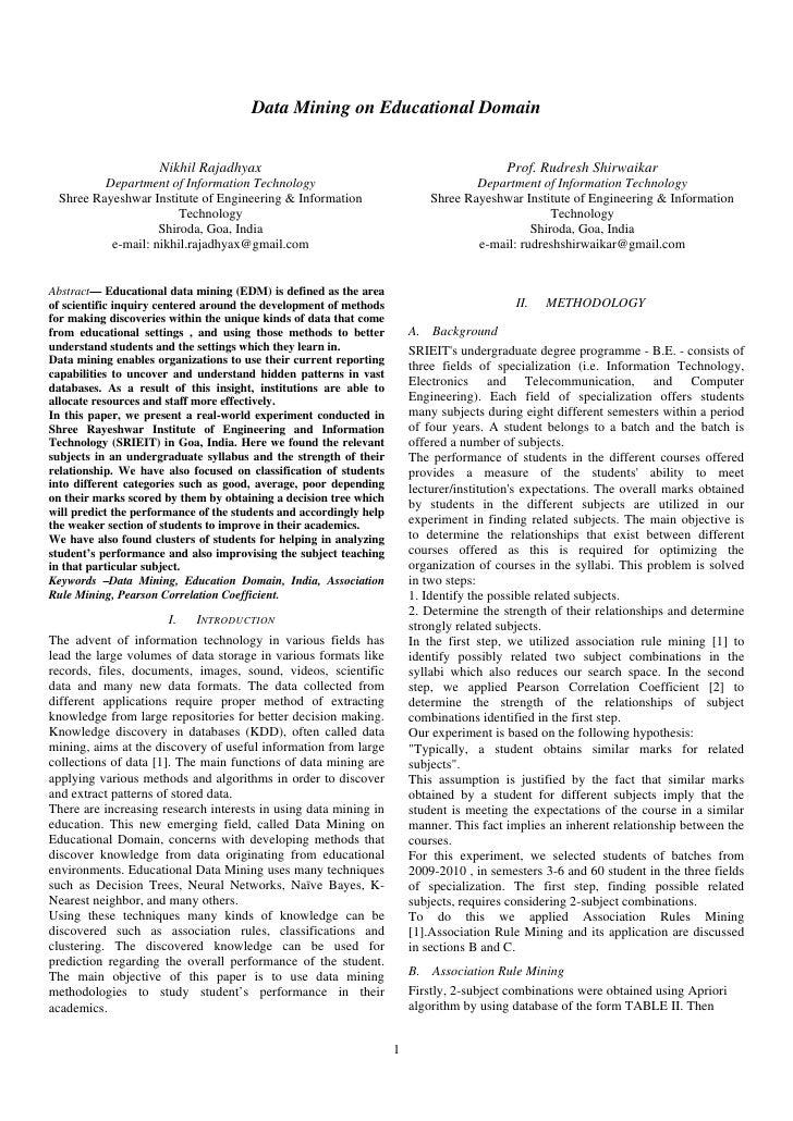 Data Mining on Educational Domain                     Nikhil Rajadhyax                                                    ...