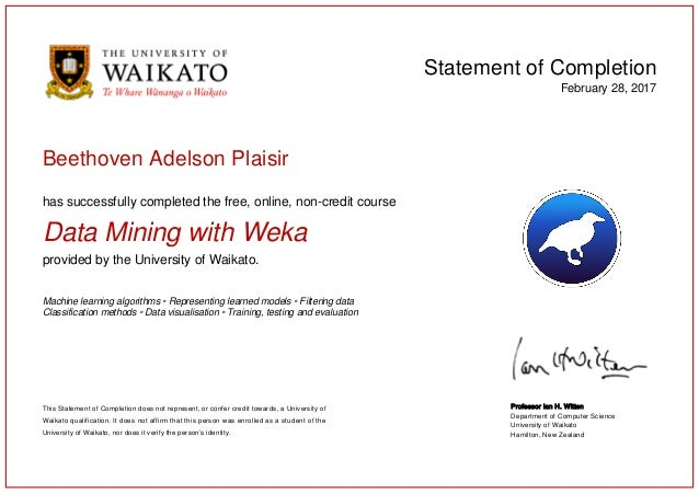 Data Mining with Weka - Certification