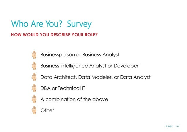 P A G E 1 0 Who Are You? Survey HOW WOULD YOU DESCRIBE YOUR ROLE? Businessperson or Business Analyst Business Intelligence...