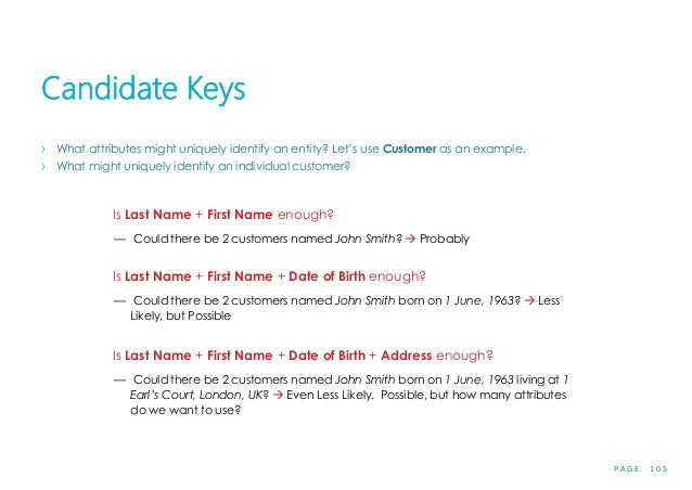 P A G E 1 0 5 Candidate Keys › What attributes might uniquely identify an entity? Let's use Customer as an example. › What...