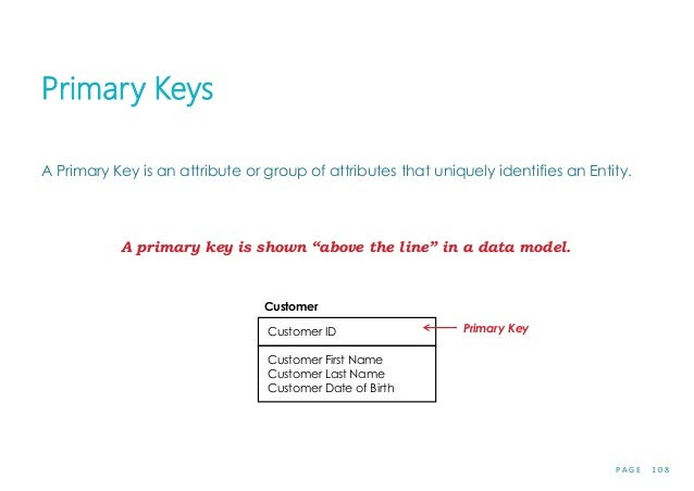 P A G E 1 0 8 Primary Keys A Primary Key is an attribute or group of attributes that uniquely identifies an Entity. A prim...