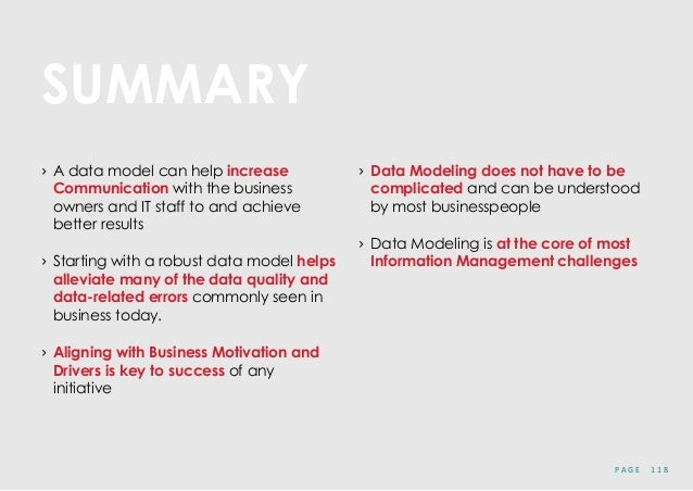 P A G E 1 1 8 SUMMARY › A data model can help increase Communication with the business owners and IT staff to and achieve ...